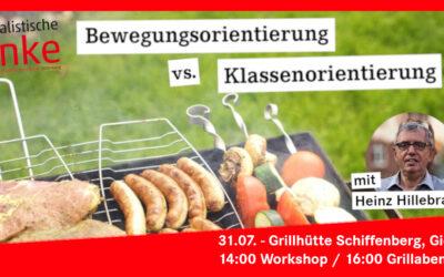 """Sa, 31.7.2021, ab 14 Uhr: """"Bewegungsorientierung vs. Klassenorientierung"""" – Workshop und Grillabend der SL Hessen"""